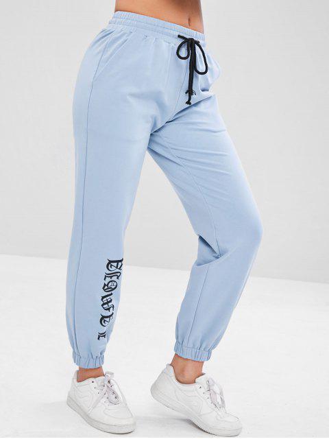 fancy Sports Drawstring Sweat Jogging Pants - BABY BLUE S Mobile