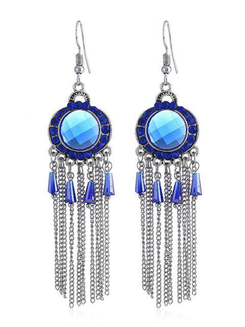 Boucles d'Oreilles Bohémiennes au Crochet avec Strass à Frange - Bleu Royal  Mobile