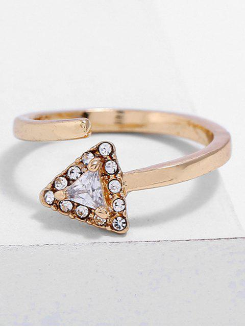 best Triangle Shape Rhinestone Finger Cuff Ring - GOLD  Mobile