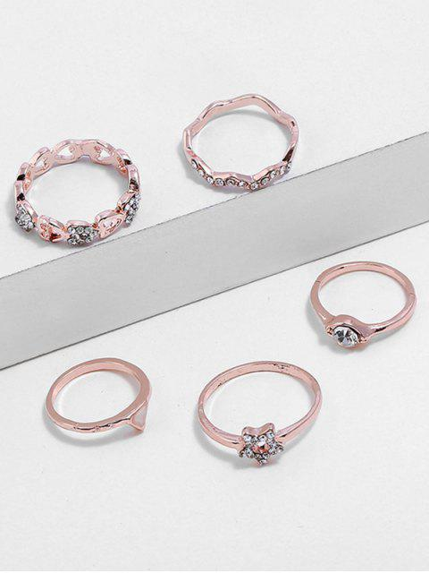 Heart Star Triangle Design Rhinestone Finger Anillos Set - Rosa de Oro  Mobile