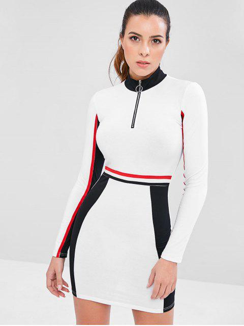 online Contrast Zip Color Block Sporty Dress - WHITE M Mobile