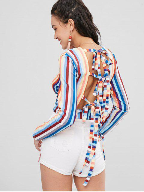 latest Cropped Knotted Stripes Top - MULTI L Mobile