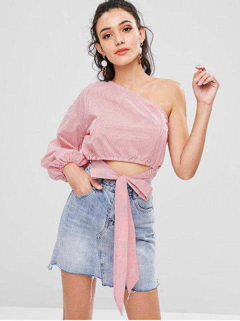 online One Shoulder Stripes Top - RED L Mobile