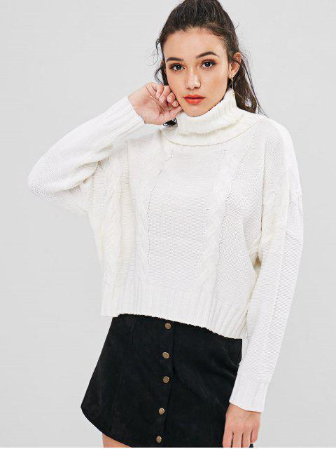trendy Turtleneck Cable Knit Sweater - WHITE ONE SIZE Mobile