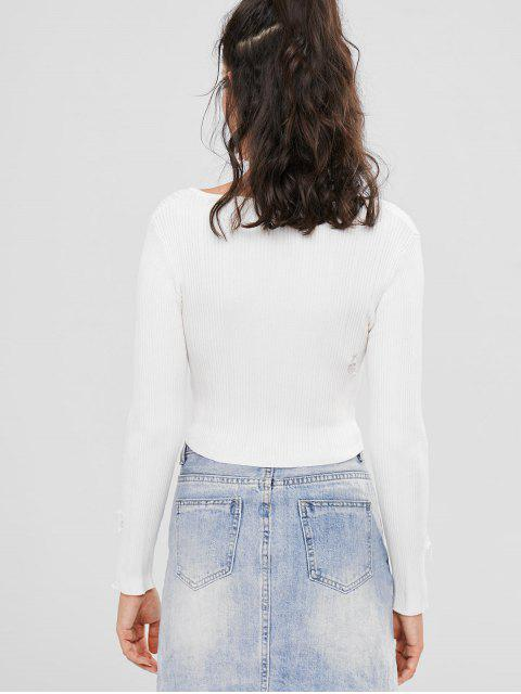 chic Rib Lace Up Long Sleeve Crop Top - WARM WHITE M Mobile