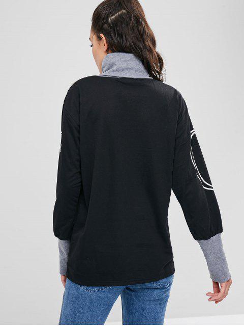 Sweat-shirt Long Graphique à Col Roulé - Noir M Mobile