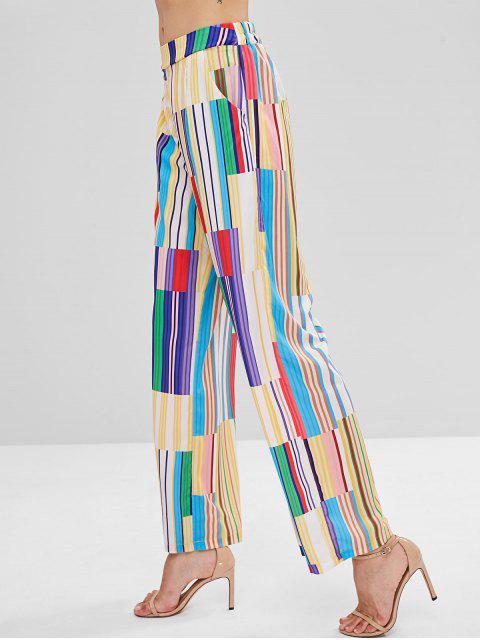 Pantalones Palazzo de pierna ancha con estampado de rayas en patchwork - Multicolor L Mobile