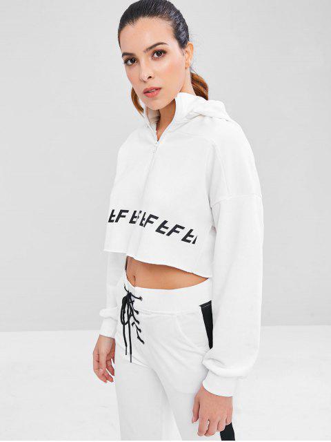 Sudadera con capucha Raw Hem Zip Crop Sports - Blanco M Mobile