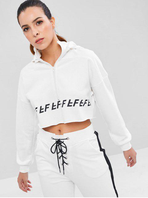 Sudadera con capucha Raw Hem Zip Crop Sports - Blanco L Mobile