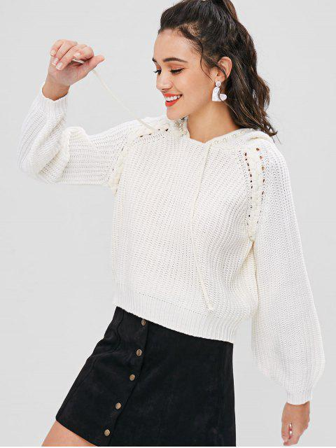 shops Hooded Faux Pearls Sweater - WHITE M Mobile