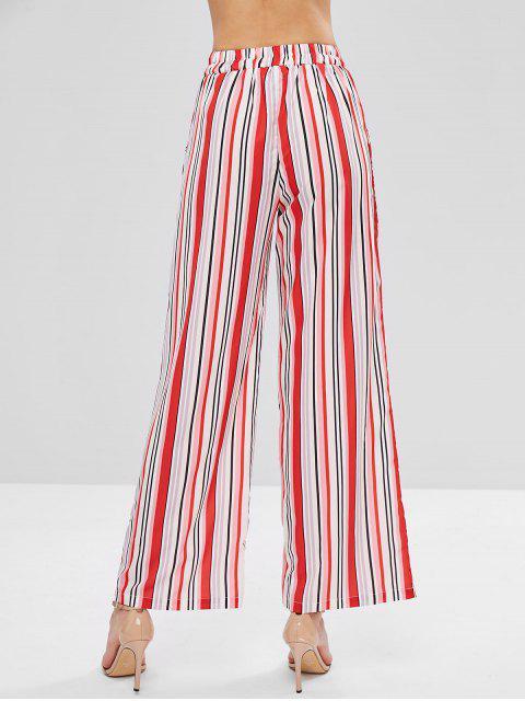 Pantalones Palazzo de pierna ancha de rayas de colores - Multicolor M Mobile