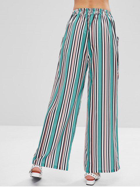 Pantalones Palazzo de pierna ancha de color a rayas - Multicolor S Mobile