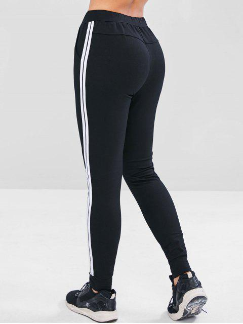 online Striped Drawstring Pocket Pants - BLACK S Mobile