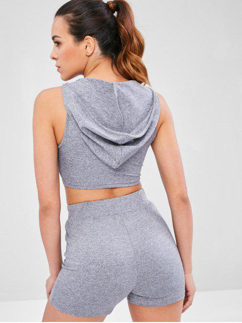 best Heather Hooded Shorts Set - GRAY M Mobile