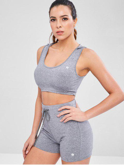 online Heather Hooded Shorts Set - GRAY L Mobile