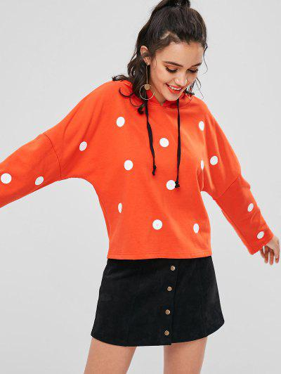 Drawstring Polka Dot Hoodie - Orange L