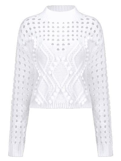Pom Ball Hollow Out Sweater, White