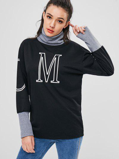 Roll Neck Graphic Long Sweatshirt - Black M