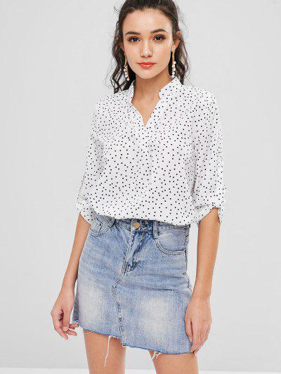 V Neck Polka Dot Blouse - White L