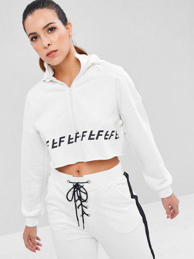 Raw Hem Zip Crop Sports Hoodie - White L