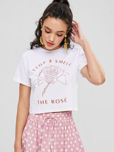 Rose Graphic Cropped Tee - White M