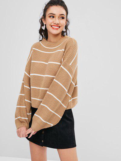 ZAFUL Lantern Sleeve Contrasting Striped Sweater - Tan