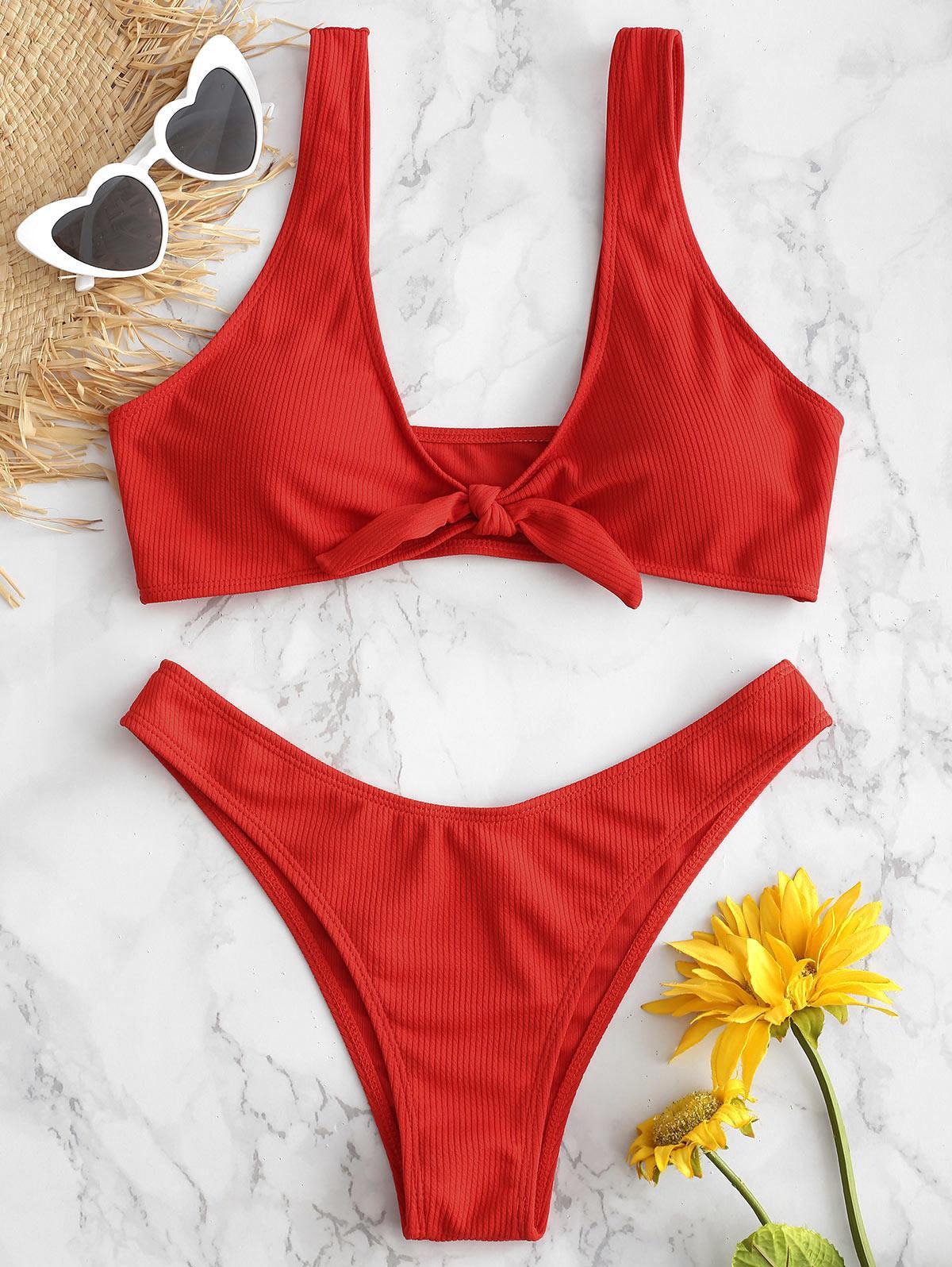Tie Front Ribbed Bikini Set