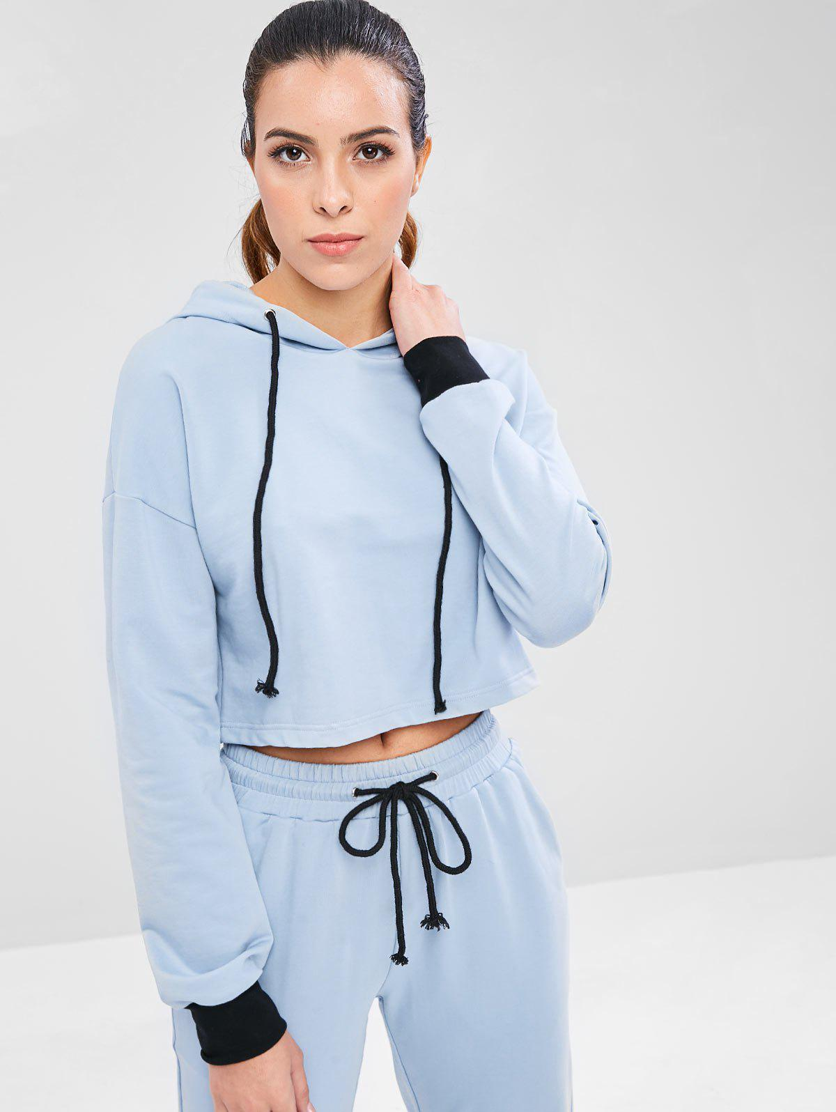 Drop Shoulder Sports Crop Hoodie