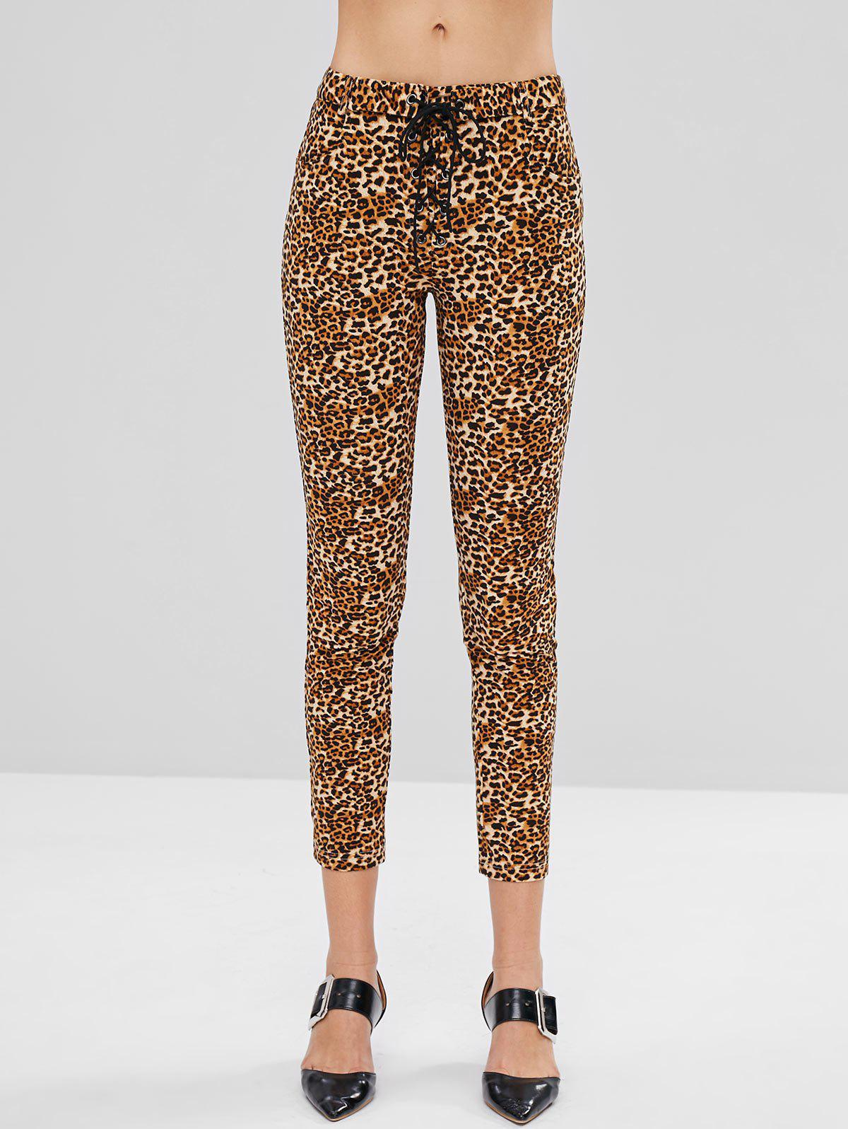 ZAFUL Pockets Lace Up Leopard Print Skinny Pants
