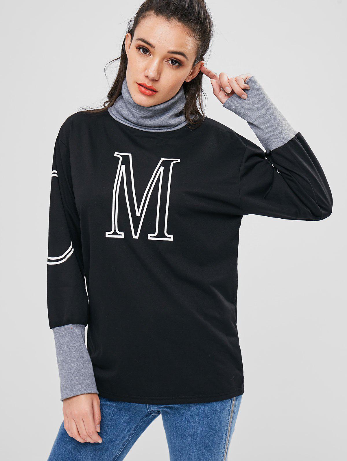 Roll Neck Graphic Long Sweatshirt