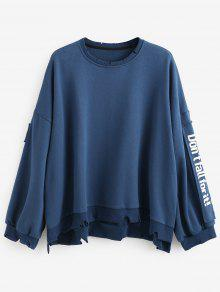 Pullover Side Azul Sudadera M Letter Oversized Patchwork xBBq47Zg