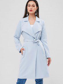 جيوب الجبهة المفتوحة مربوط معطف الخندق - ازرق رمادي L