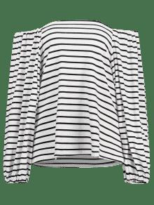 Blanco The Off Striped Shoulder Camiseta xqzgZg