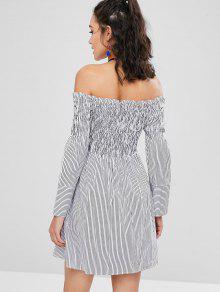 e1ad294c8f66 Shirred a rayas del vestido del hombro