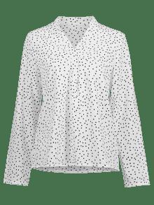 En Blusa S Blanco Cuello Con V Lunares A qTnrxPwITA
