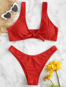 Tie Front Ribbed Bikini Set - أحمر M