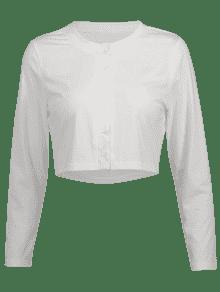 Con Mangas Camiseta Recortada Abotonadas S Blanco q5H87w