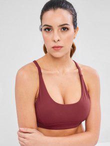 Y Back Mesh Insert Gym Bra - نبيذ احمر L