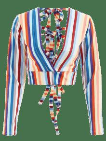 Multicolor Rayas S Recortadas Anudadas Arriba twwcZCUq6x