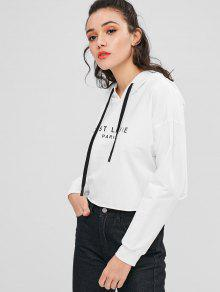 Hoodie S Blanco Roll Hem Carta Graphic nxfZWW