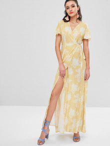 Floral Manga Vestido Abertura De Corta Sol S Con Amarillo Y EOqpHC