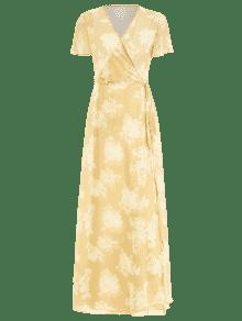 Abertura Vestido S Floral Con De Sol Manga Amarillo Corta Y aOwaq