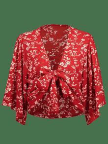 Frente S Con El Top Floral En Lazo Rojo o Casta Corto wAqUxqZ
