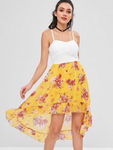 الأزهار مبطن ارتفاع منخفض فستان كوكتيل - أصفر فاقع M