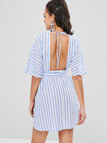 3dad874613 69% OFF   HOT  2019 Button Up Striped A Line Plunge Dress In SKY ...