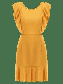 S De Amarilla Abeja Volantes Vestido Abierta Espalda qzwqYO6