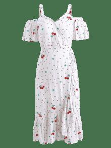 Cereza Y Hombros Blanco Estampado Descubiertos De Con Vestido xBRtwqY7n