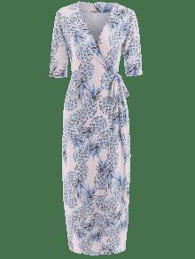 f4bc023b46 65% OFF  2019 Pineapple Print Maxi Wrap Dress In MULTI XL