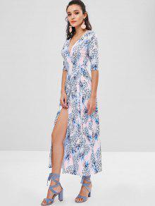 الأناناس طباعة ماكسي فستان التفاف - متعدد Xl