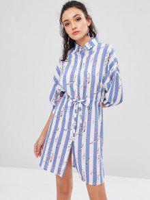فستان بطبعات طيور - ضوء صلب أزرق L